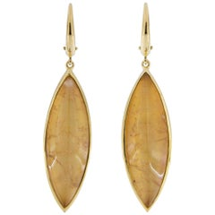 Jona Yellow Tourmaline Quartz Mother of Pearl 18 Karat Yellow Gold Drop Earrings