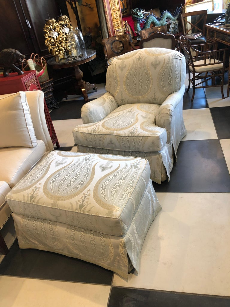 This Jonas armchair and ottoman is upholstered in Anna French fabric extra large and comfortable Rounded back at top not a spot or mark on it!