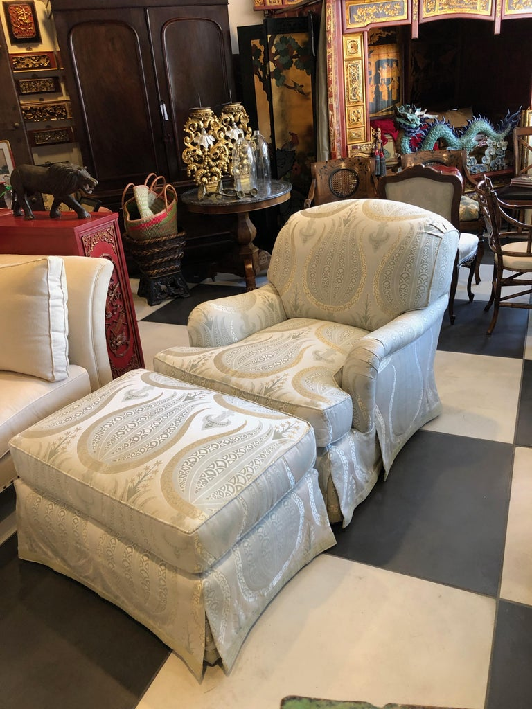 American Classical Jonas Armchair and Ottoman For Sale