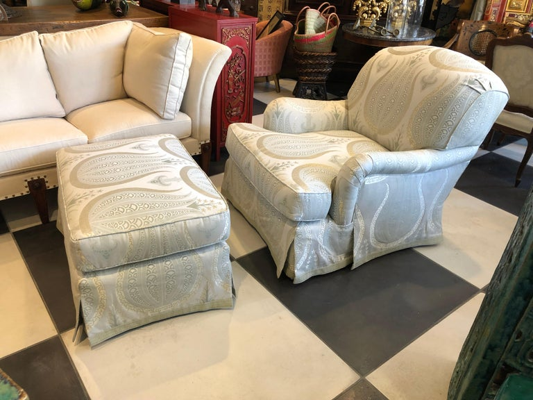 Hand-Crafted Jonas Armchair and Ottoman For Sale