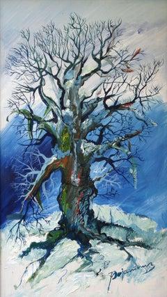 The old tree. 1980, cardboard, oil, 50x30 cm