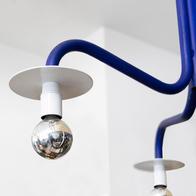 Hand-Painted Jonas Bohlin 3-Arm Chandelier in Ultramarine Blue 'A' For Sale