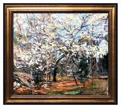 Jonas Lie Original Oil Painting On Canvas Signed Forest Tree Landscape Artwork