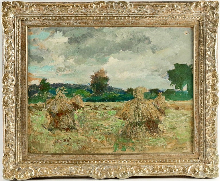 An exciting and decorative oil on panel depicting a Haystacks under the Thunderstorm. Our painting signed and dated 1946 on the lower right.  Fine original condition.  Dimensions unframed: W 25.19 In. - H 18.89 In. Dimensions framed: W 31.49 In. - H