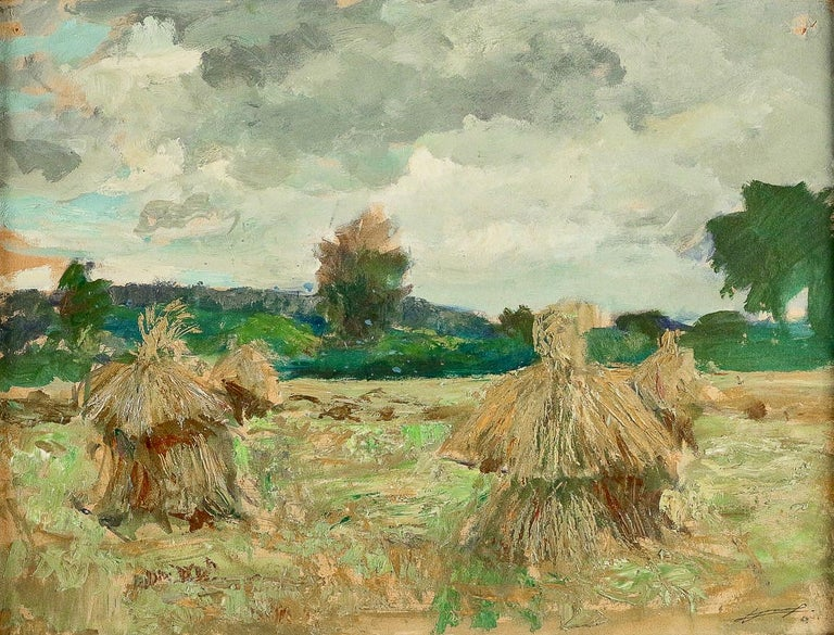 French Jonas Lucien Oil on Pannel Haystacks under the Thunderstorm, circa 1946 For Sale