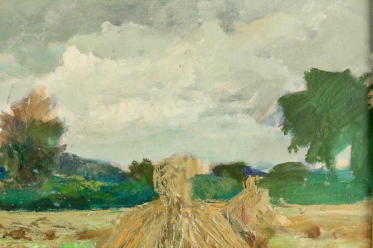 Oiled Jonas Lucien Oil on Pannel Haystacks under the Thunderstorm, circa 1946 For Sale