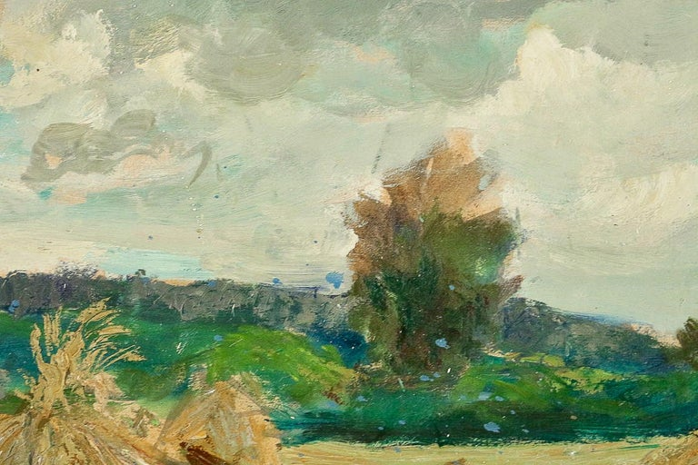 Jonas Lucien Oil on Pannel Haystacks under the Thunderstorm, circa 1946 In Good Condition For Sale In Saint Ouen, FR