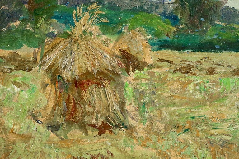 20th Century Jonas Lucien Oil on Pannel Haystacks under the Thunderstorm, circa 1946 For Sale
