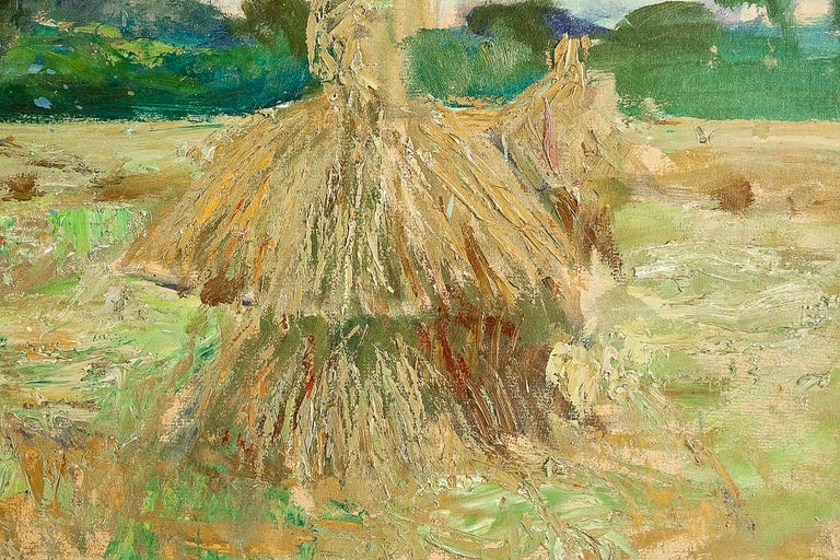 Wood Jonas Lucien Oil on Pannel Haystacks under the Thunderstorm, circa 1946 For Sale