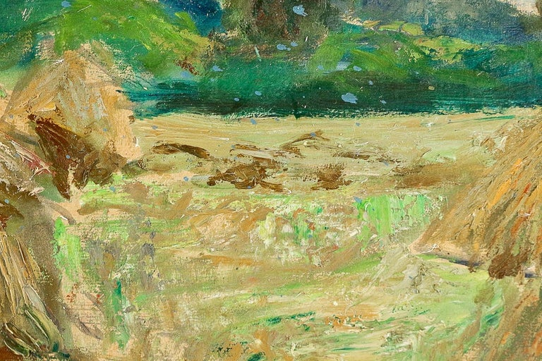 Jonas Lucien Oil on Pannel Haystacks under the Thunderstorm, circa 1946 For Sale 1