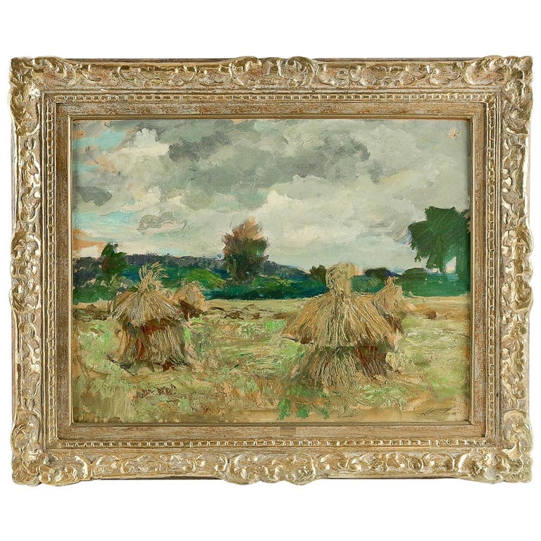Jonas Lucien Oil on Pannel Haystacks under the Thunderstorm, circa 1946 For Sale