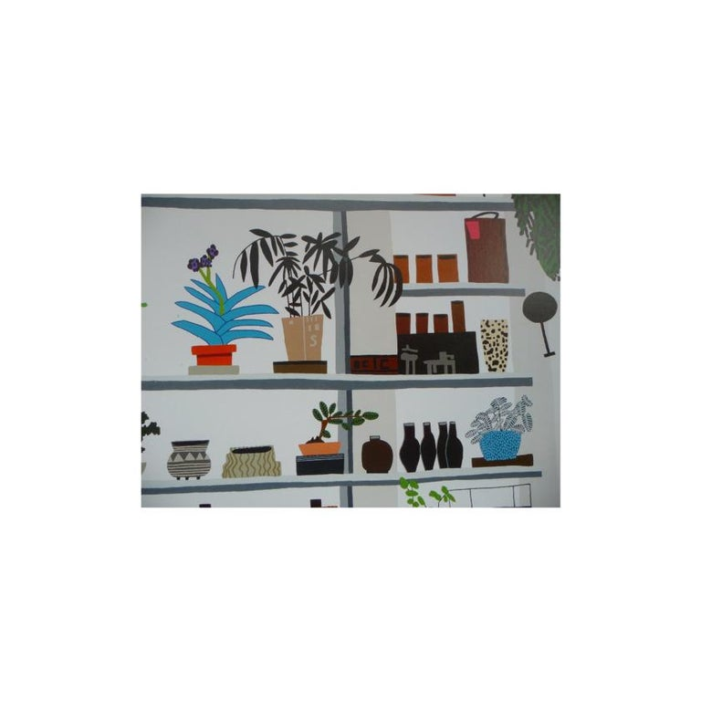Jonas Wood, Large Shelf Still Life, Poster, 2017 - Gray Print by Jonas Wood