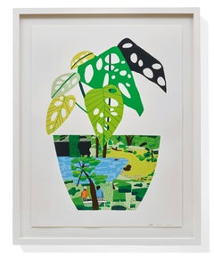 Landscape Pot with Plant, Contemporary Limited Edition screenprint by Jonas Wood