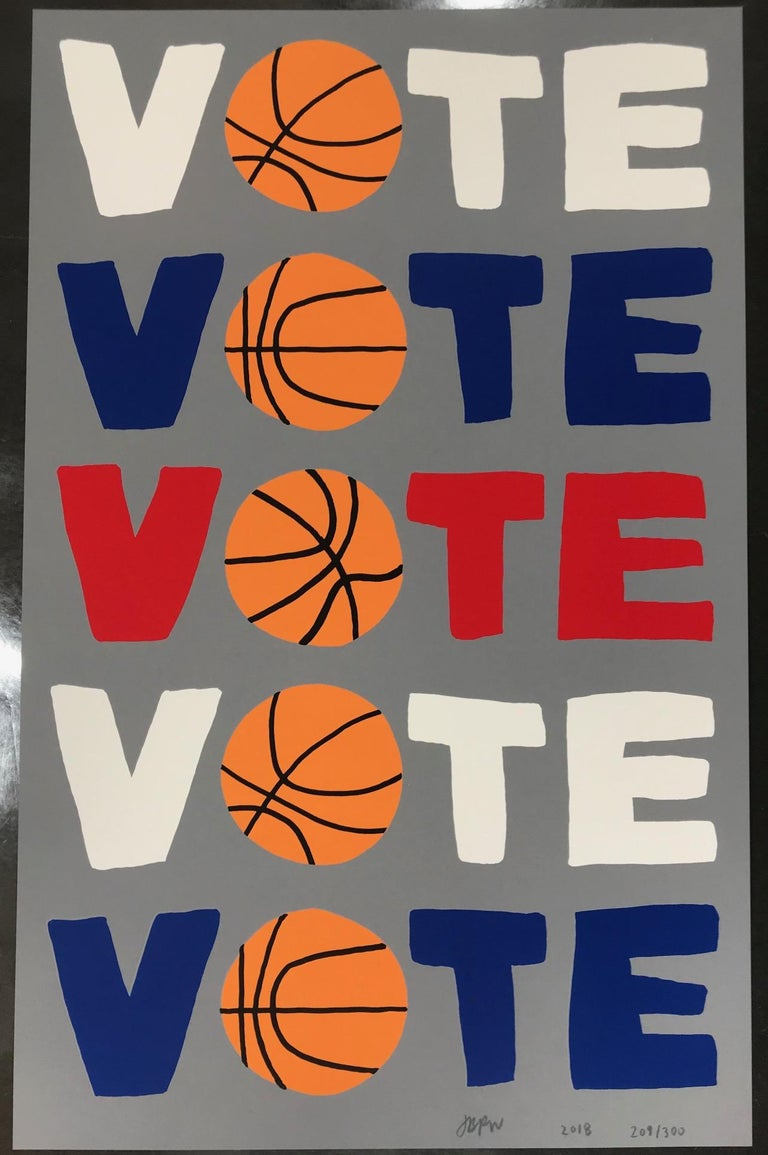 Vote, 2018 Screenprint in colors on Coventry Rag paper 15.75 x 10 in. (40 x 25.4 cm.) Signed, dated and numbered in pencil  Edition 209/300 Downtown for Democracy, New York  Excellent brand new (original) condition. Ships flat. This limited edition