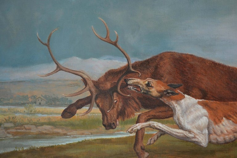 Hound Coursing A Stag (George Stubbs) Contemporary Copy by Jonathan Adams 2