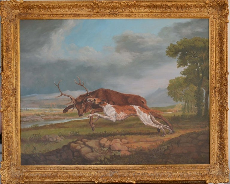 Hound Coursing a Stag  2011 – original by George Stubbs (1724 – 1806)  A really eye-catching copy on canvas of this hunting scene originally by Stubbs.  Artist Biography: Jonathan Adams has been producing museum standard hand painted copies of fine
