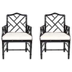 Jonathan Adler Black Lacquered Faux Bamboo Chippendale Chairs, Pair