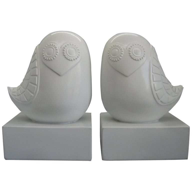 Jonathan Adler Happy Chic Lola Owl Bookends Sculpture For Sale
