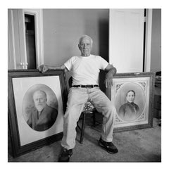 Elia Kazan with portraits of his forebears at home in New York, 28 June 1999
