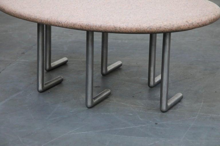 Jonathan Bonner Granite Postmodern Coffee Table, circa 1980, Signed For Sale 8