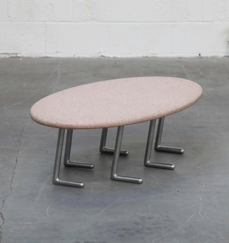 American Jonathan Bonner Granite Postmodern Coffee Table, circa 1980, Signed For Sale