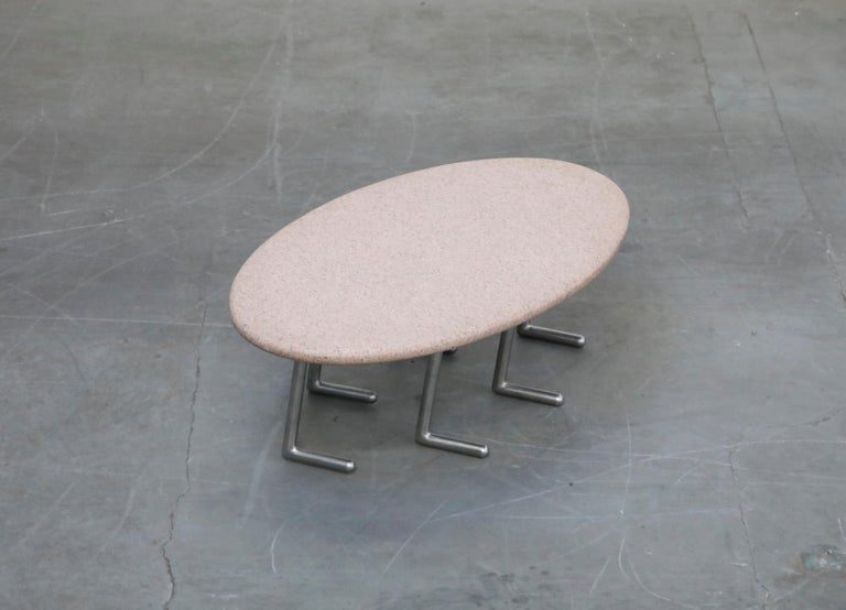 Jonathan Bonner Granite Postmodern Coffee Table, circa 1980, Signed In Excellent Condition For Sale In Los Angeles, CA