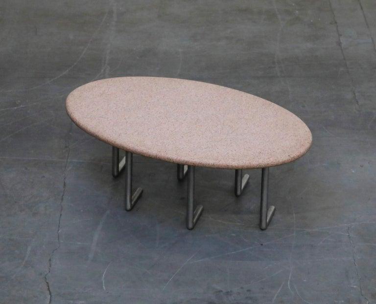 Aluminum Jonathan Bonner Granite Postmodern Coffee Table, circa 1980, Signed For Sale