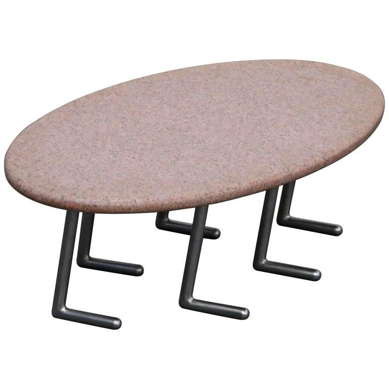 Jonathan Bonner Granite Postmodern Coffee Table, circa 1980, Signed For Sale