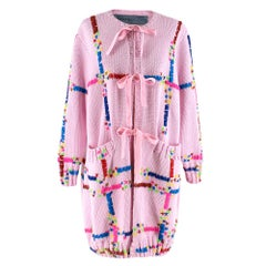 Jonathan Cohen Pink Hand-Embroidered Wool Cardigan S