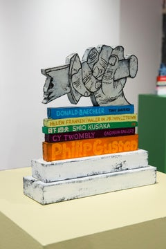 Library Sculpture IV - Art History, Stacked Books in Bright Orange, Purple, Blue