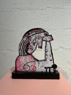 Picasso Female Figure Sculpture - Grey, Black, Pink, White Paint on Wood