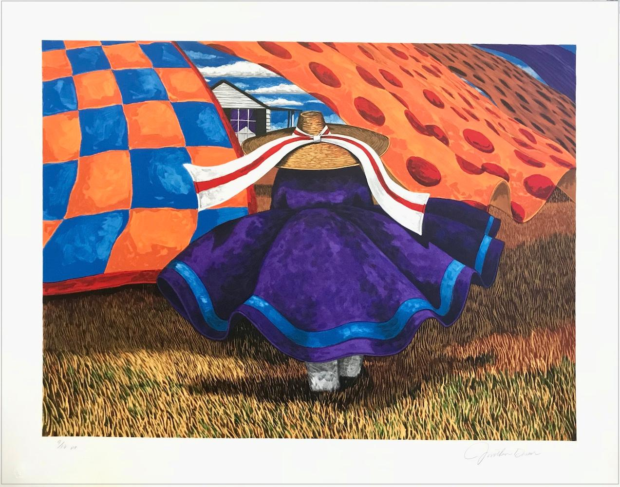FARM WOMAN Signed Lithograph, Gullah Woman, Quilts, African American Culture