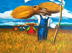SWEETGRASS CARRIERS Signed Lithograph, Landscape African American Gullah Culture