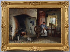 19th Century genre oil painting of a woman spinning wool