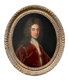 Early 18th Century English Oil Portrait of a Gentleman in a Red Velvet Jacket