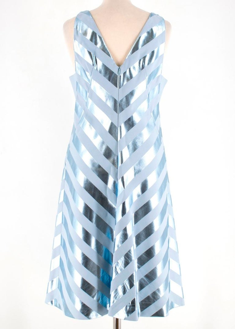 Jonathan Saunders Blue Nicola Foil-Stripe Dress M 40  In Excellent Condition In London, GB