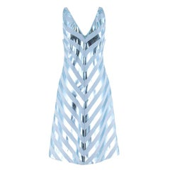 Jonathan Saunders Blue Nicola Foil-Stripe Dress M 40