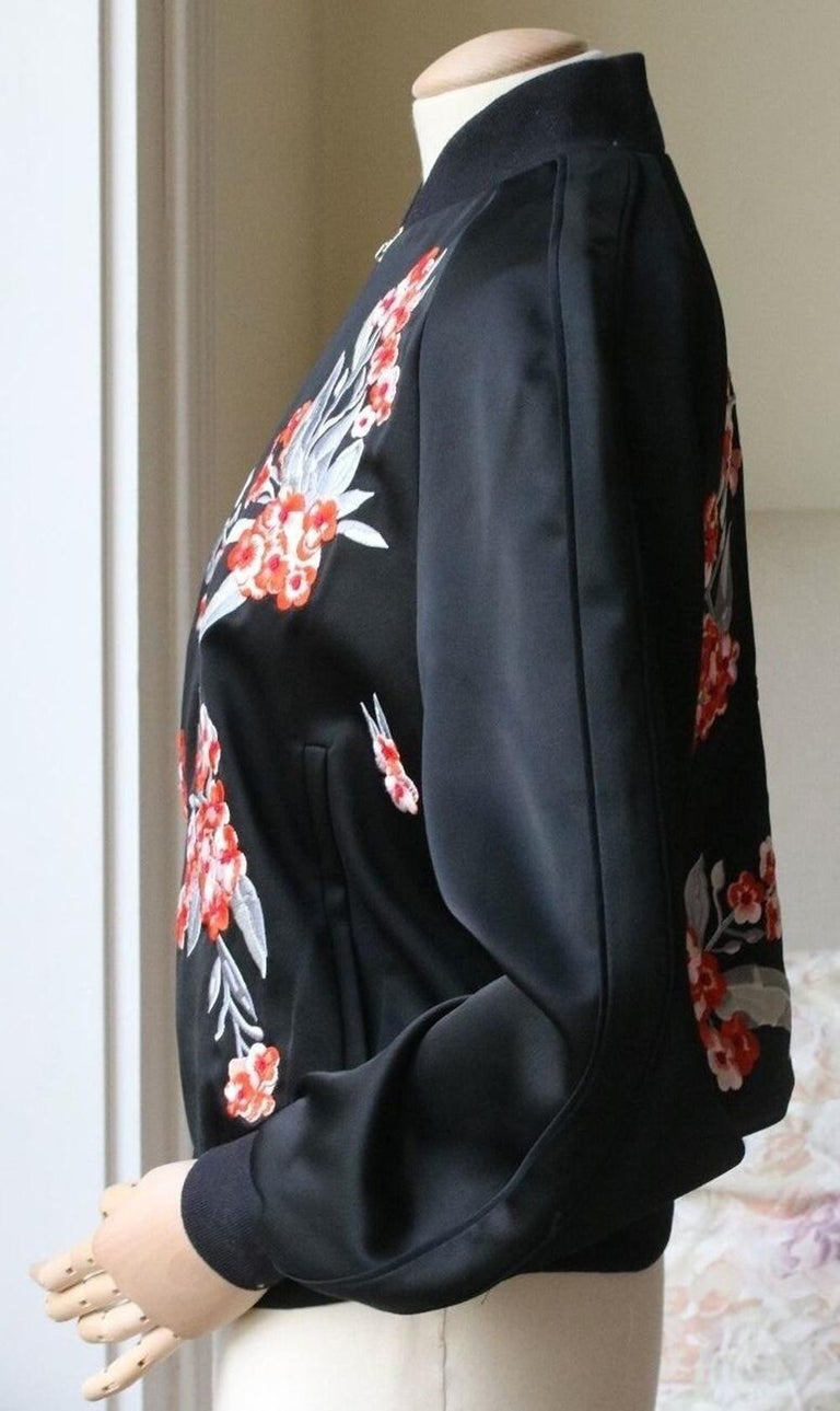 Black Jonathan Saunders Cecily Embroidered Satin Bomber Jacket For Sale