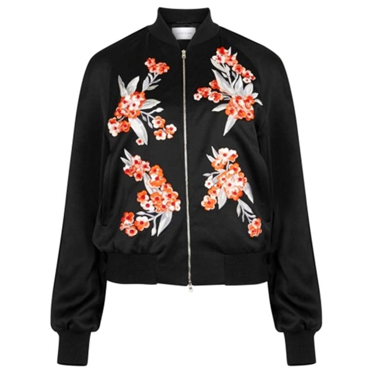 Jonathan Saunders Cecily Embroidered Satin Bomber Jacket For Sale