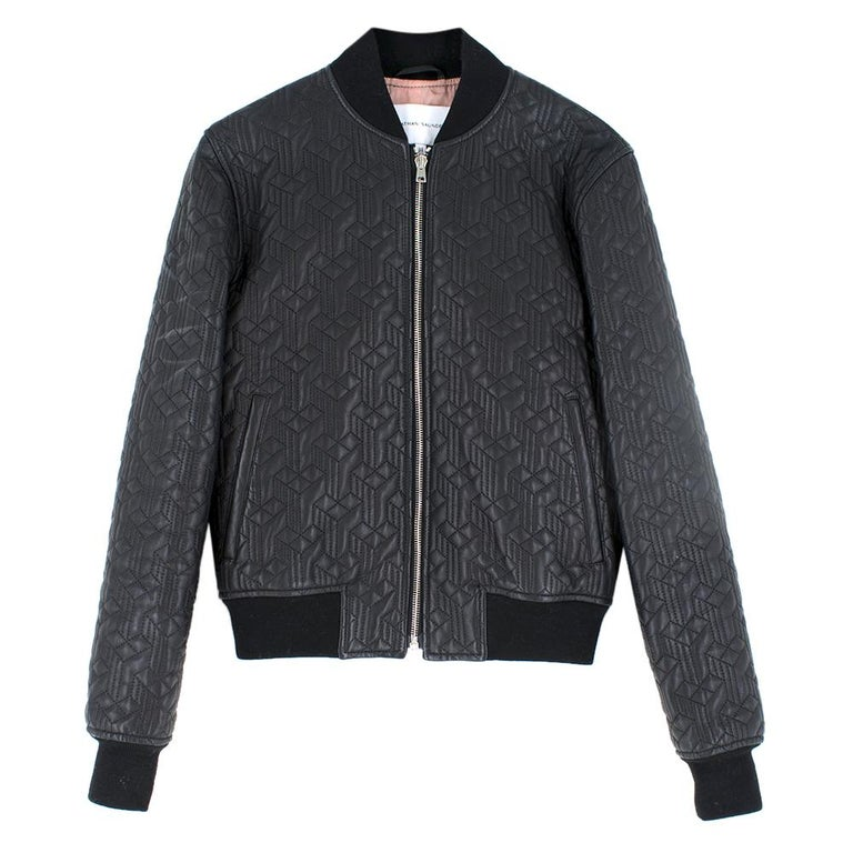 Jonathan Saunders textured leather bomber jacket - Size US 0-2 In Excellent Condition In London, GB