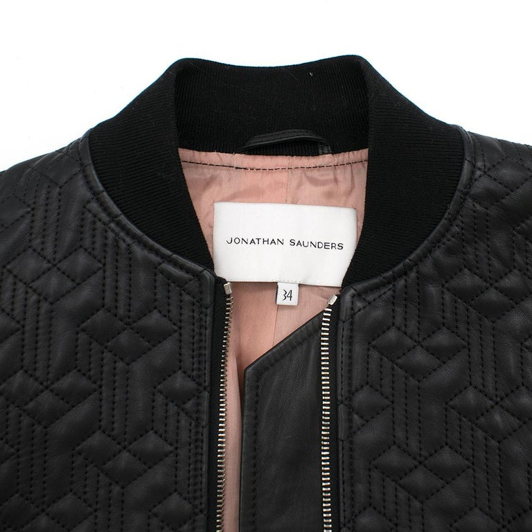 Women's Jonathan Saunders textured leather bomber jacket - Size US 0-2