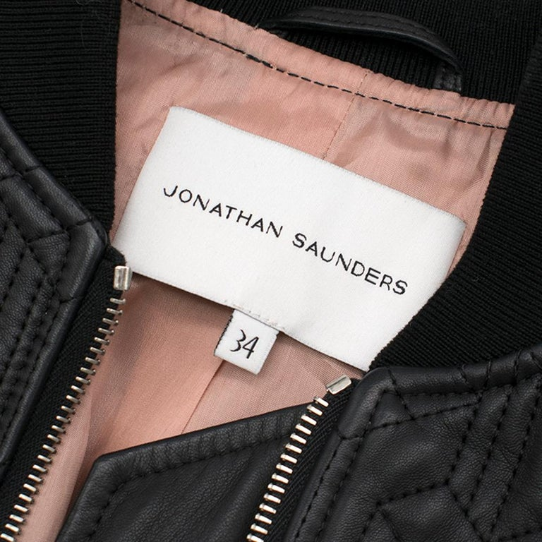 Jonathan Saunders textured leather bomber jacket - Size US 0-2 1