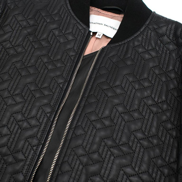 Jonathan Saunders textured leather bomber jacket - Size US 0-2 2