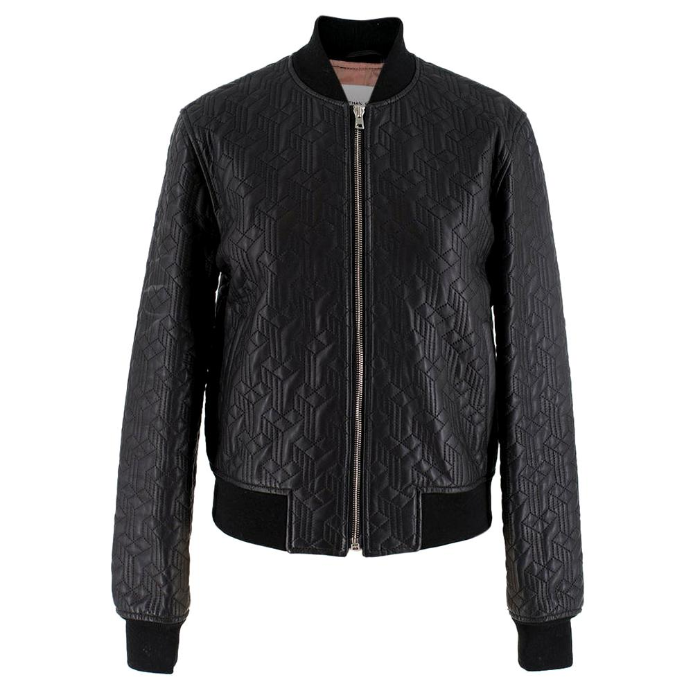 Jonathan Saunders textured leather bomber jacket - Size US 0-2