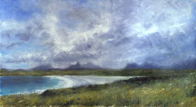 Achnahaird Beach by contemporary Scottish artist Jonathan Shearer.  Oil on canvas, 110 cm × 200 cm. Sold unframed. In this work, Jonathan Shearer paints the sandy beach in Achnahaird Bay, located on the Coigach peninsula in Scotland. Jonathan