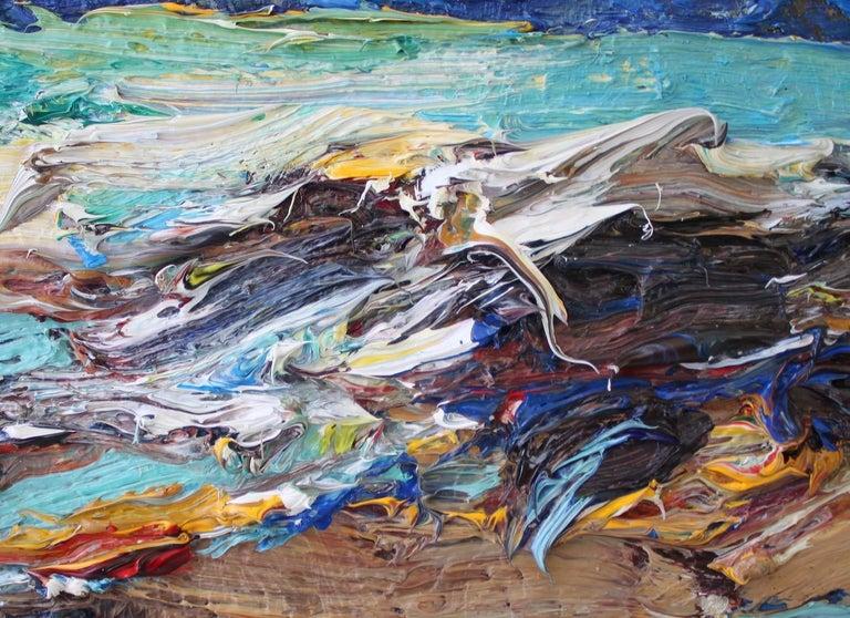 Shandwick Beach by Jonathan Shearer - Seascape oil painting, Ocean waves 2