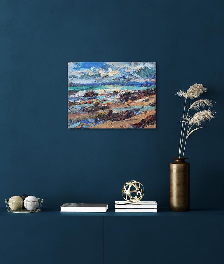 Shandwick Beach by Jonathan Shearer - Seascape oil painting, Ocean waves 3
