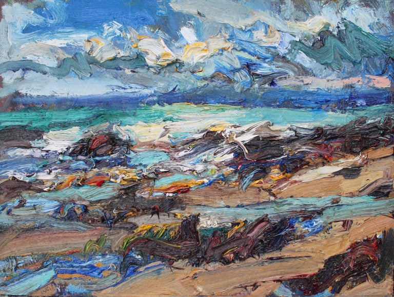 Shandwick Beach by contemporary Scottish artist Jonathan Shearer. Oil on board, 30 cm × 40 cm. Although the paintings by Jonathan Shearer are inspired by a precise landscape in a precise moment, they appear somehow timeless and placeless. They are