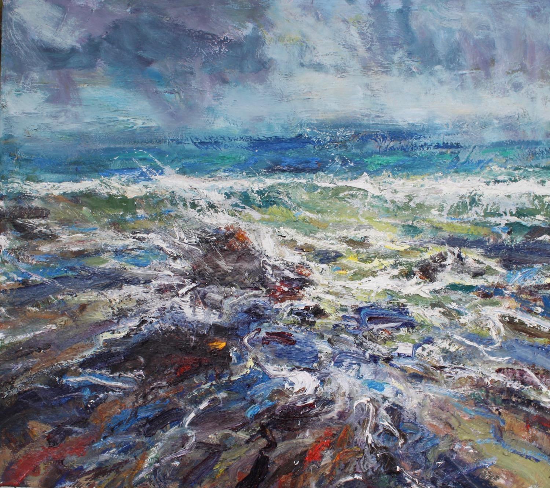 Spring Tide, Shandwick Bay - Seascape oil painting, Ocean waves, blue