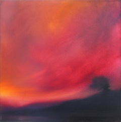 Crimson Light original abstract landscape painting- contemporary art -21st
